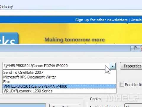 How to find a printer in Outlook