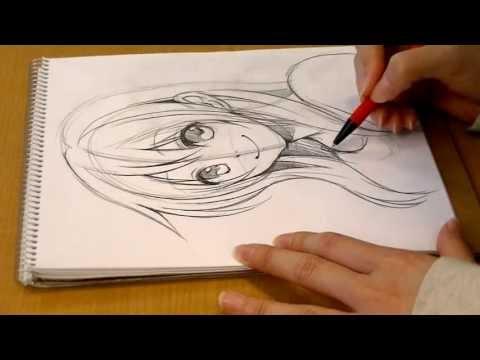 Morita's manga  Come Back!.DRAWING girl's face by pencil 01 SeAL_Morita_Eihire