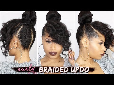 FRENCH BRAIDED CURLY UPDO ➟ Natural Hair Tutorial