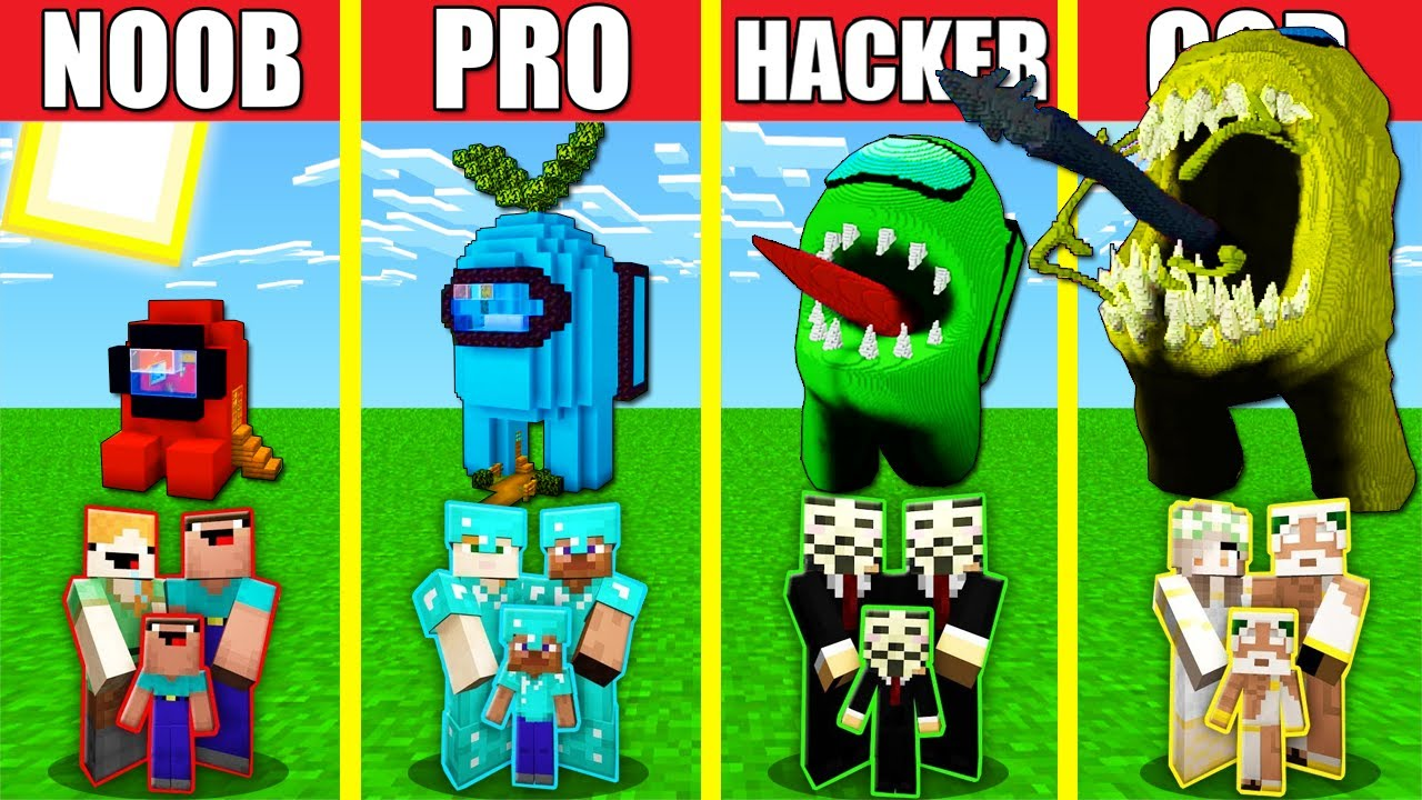 Minecraft Battle: AMONG US HOUSE BUILD CHALLENGE - NOOB vs PRO vs HACKER vs GOD / Animation IMPOSTOR