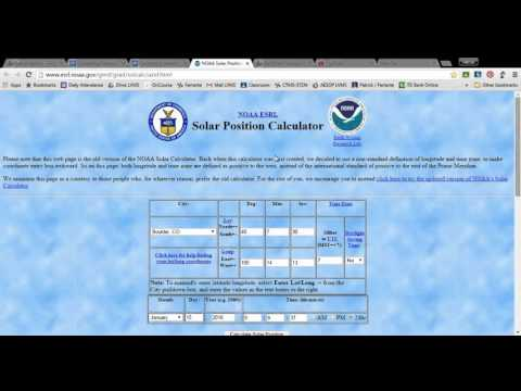 Finding Solar Angle Using NOAA Solar Position Calculator
