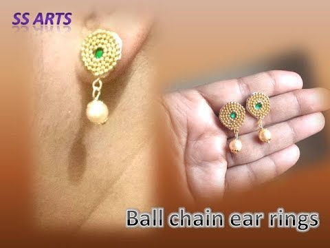 How to make Paper ear rings at home/Paper Jewellery/Paper studs /pearl ear rings