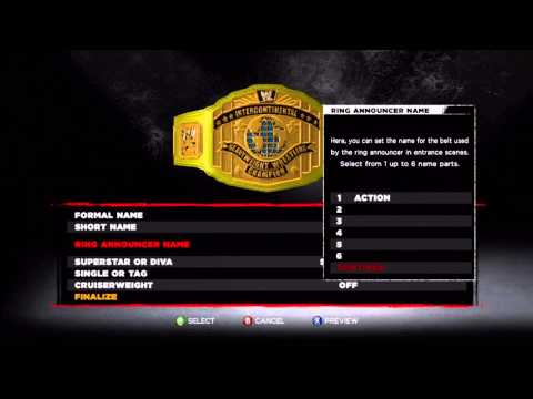 WWE 13 - How to Create a Championship - New Title Creation Feature