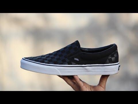 Vans Black & Grey Checkboard print Sneaker (Onfeet)