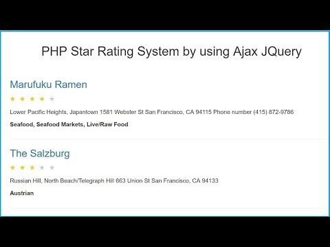 PHP Star Rating System by using Ajax JQuery