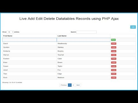 Datatables Live Records Add Edit Delete using PHP Ajax JQuery
