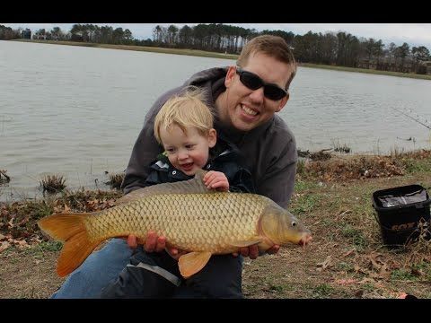 Catching carp, white catfish and bullhead in winter at Mt. Trashmore Park Virginia