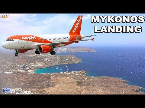 LANDING IN MYKONOS AIRPORT - GREECE 4K