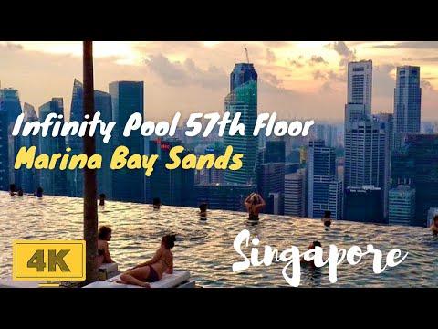 Marina Bay Sands Skypark Infinity Pool Singapore in 4K - World's Highest Pool on 57th Floor
