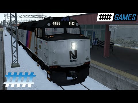 Train Simulator Cab Ride NJT F40PH-2CAT in Snow From Asbury Park NJ to Long Branch Station