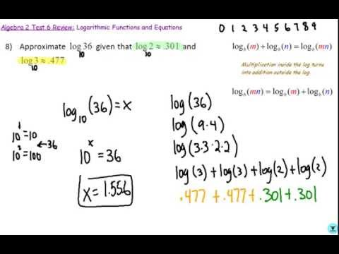 Math 3 Test 4 # 8 (Approximate Logarithms)