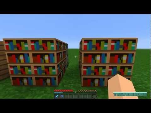Minecraft: Tutorials - How To Make A Secret Bookcase Door [HD]