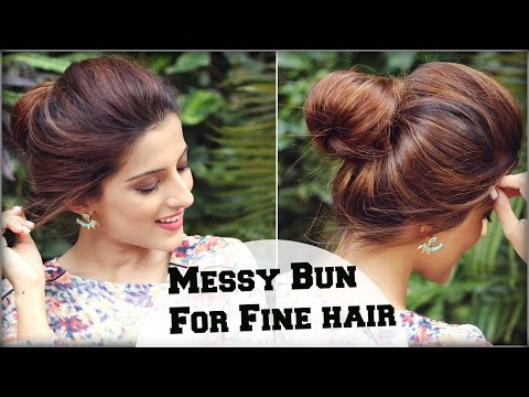 2 Min Easy Everyday Top Messy Bun Hairstyle For Fine / Thin Hair For School, College, Work