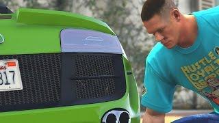 GTA 5 WWE Mods - JOHN CENA STEALS RUSEVS CAR! (Grand Theft Auto V Mods)