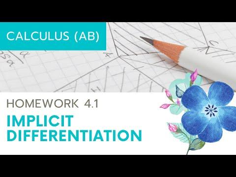 Calculus AB Homework 4.1: Implicit Differentiation
