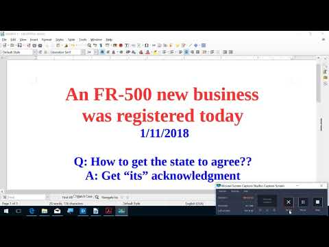 An FR 500 Business was registered today