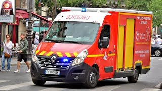 BSPP VSAV 408 + Police Ford Galaxy Banalisée // Paris Fire Ambulance + Unmarked Police Car