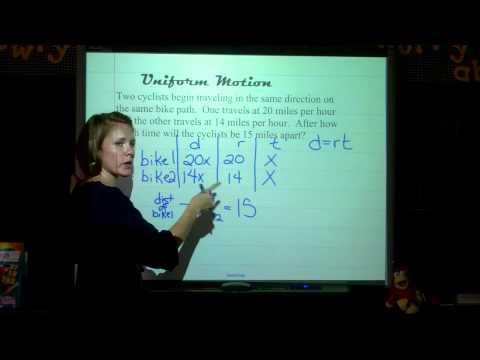 Algebra:   Uniform Motion Problems   Sec 3-9
