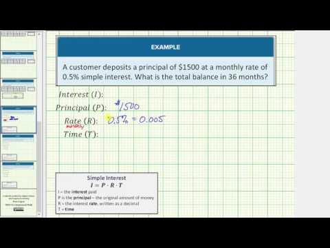 Simple Interest - Determine Account Balance (Monthly Interest)