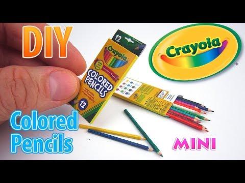 DIY Miniature Crayola Colored Pencils | DollHouse | No Polymer Clay!