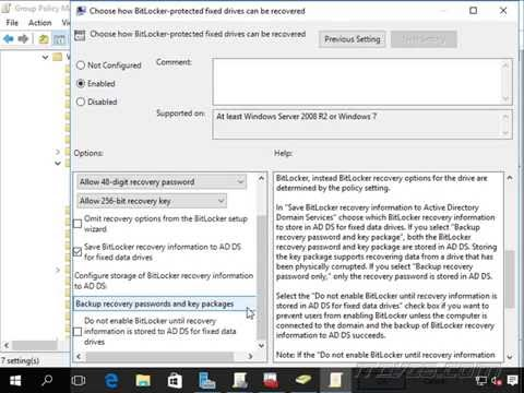 Backing Up BitLocker Recovery Keys to Active Directory with Group Policy - Exam 70-398