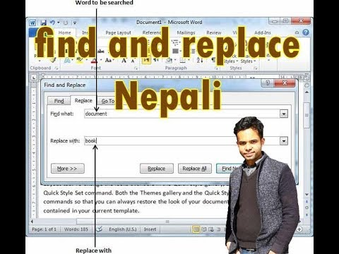 how to word find and replace multiple words in Nepali
