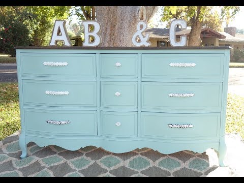 How To: Makeover: Refinishing this lovely 9 drawer dresser in Sea Glass