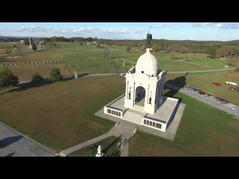 Phantom 3 Drone - Arial view of Gettysburg, PA - Roundtop - Monuments