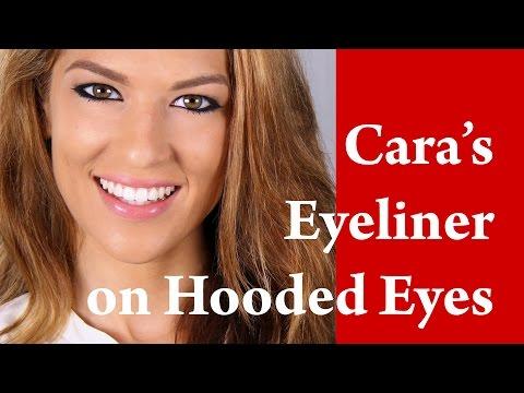 CARA DELEVINGNE cat eye flick feline EYE LINER makeup tutorial on HOODED and DOWNTURNED eye