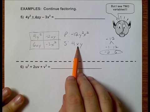 Algebra 1 (Topic 6-3) Factoring Trinomials