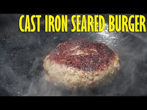 Burger Seared In A Cast Iron Pan Using The Vortex To Superheat It