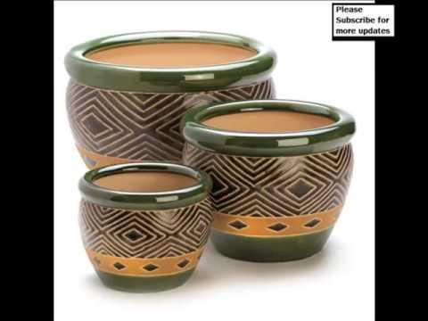 Classic Ceramic Flower Pots | Picture Set Beautiful Decorative Handwork