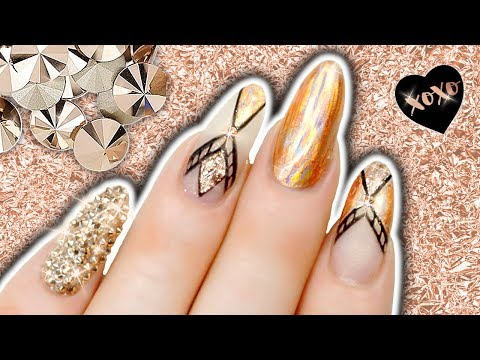 ROSE GOLD GEOMETRIC NAILS TUTORIAL With Holo Foil & Glitter Nail Art