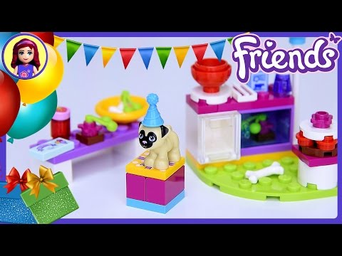 Lego Friends Birthday Party Cakes Pug Puppy Set Build Review Play - Kids Toys