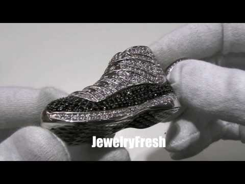 Custom 3D Iced Out Retro Jordan 11 Breds Sneaker Pendant with Chain