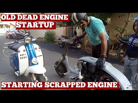 How To Start Lambretta Scooter Engine Has No Oil No Compression No Spark-Old Engine Startup-Diy