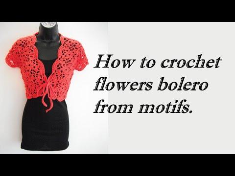 how to crochet flowers bolero shrug jacket with motifs free pattern tutorial