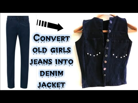 DIY: Convert/Reuse Old Jeans into girls shrug/Denim Jacket (HINDI)