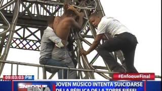 Joven músico intenta suicidarse en la réplica de la Torre Eiffel en el país