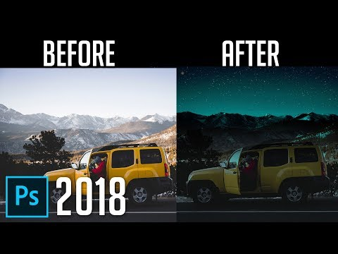 How to Turn Day into Night | Photoshop CC 2018 Tutorial