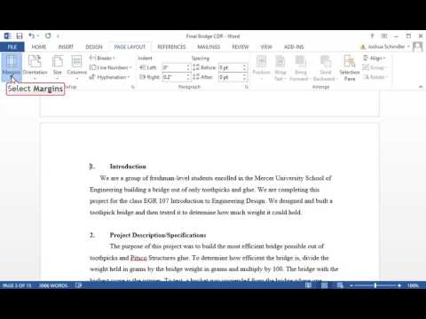Mirror Margins Instructional Microsoft Office 2013