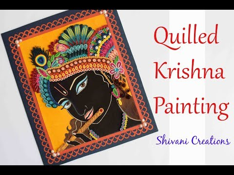 Quilled Krishna Painting/ Ornamental Quilling/ Poster Coloer Painting