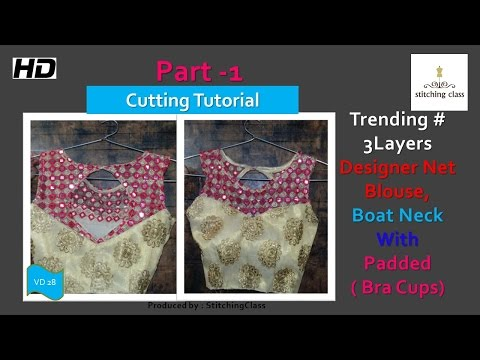 Designer Net Blouse Boat Neck with Bra Cups (Padded) Cutting DIY