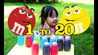 Learning Numbers With Red and Yellow M&M - Kids children toddlers  Counting Fun With Fruits Juice