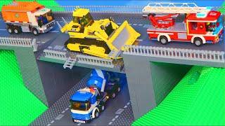 LEGO Bulldozer, Excavator, Crane, Fire Truck & Toy Vehicles do Bridge Construction for Kids