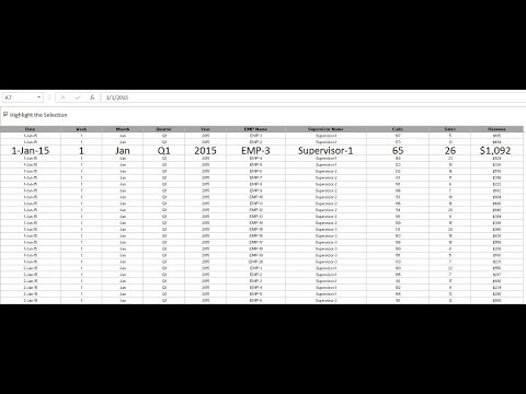 Highlight the selection in Excel