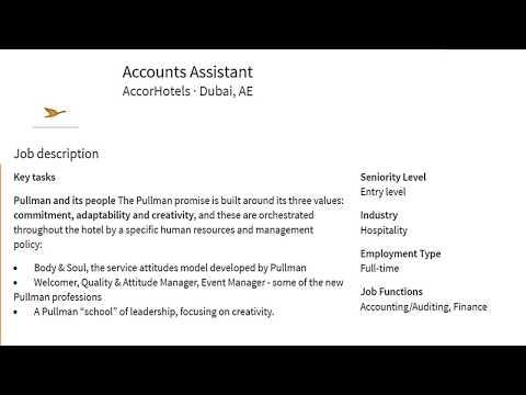 Account assistant job vacancy in hotel Dubai
