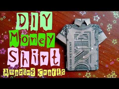 DIY Easy Money Origami For Beginners. How To Fold Shirt From Dollar Bill. Funny Dress Tutorial