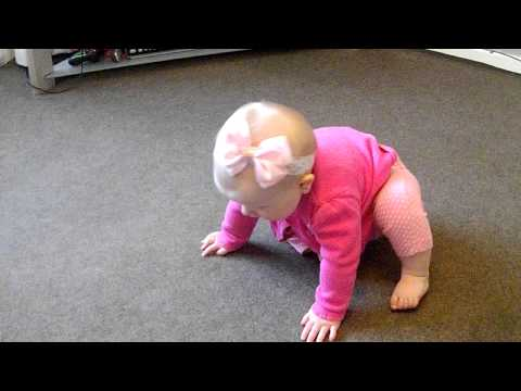 Cute baby girl has tantrum whilst learning to crawl x