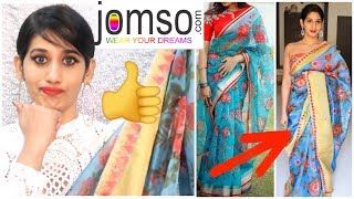 cba70bc67b6187 New*JOMSO SAREE HAUL/ Designer Organza Saree- Unboxing & Tryon/ Is It